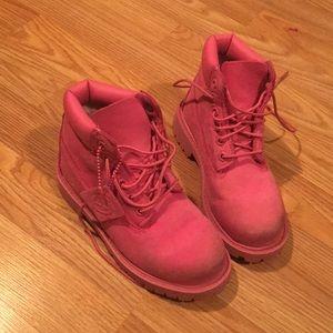 12.5 girls pink Timberland boots